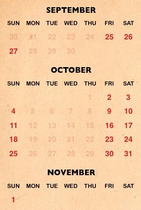 Busch Gardens Halloween Howl-O-Scream calendar for 2020