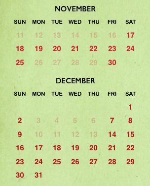 Busch Gardens Christmas Town 2018 calendar
