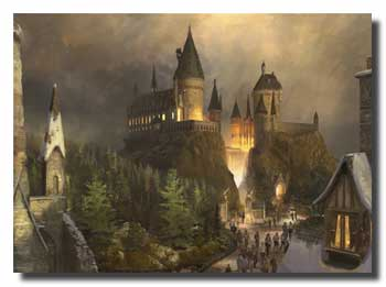 Artists impression of Hogwarts Castle at The Wizarding World of Harry Potter