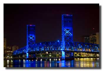 Bridge in Jacksonville, illuminated by blue light