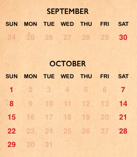 Seaworld's Halloween Spooktacular calendar for 2017