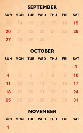 Seaworld's Halloween Spooktacular calendar for 2020