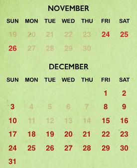 SeaWorld Orlando Christmas Celebration 2017 calendar
