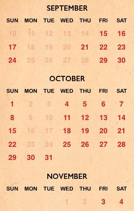Halloween Horror Night 2017 calendar