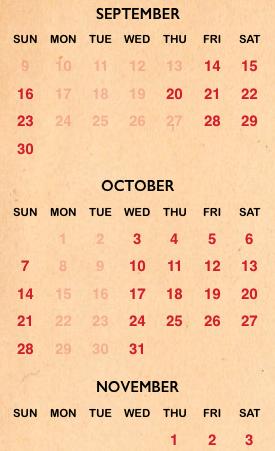 Halloween Horror Night 2018 calendar