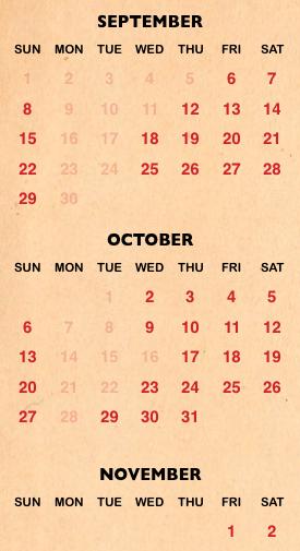 Halloween Horror Night calendar for 2019