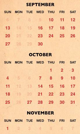 Halloween Horror Night calendar for 2020