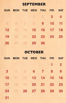 Halloween Horror Night calendar for 2021