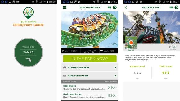 Busch Gardens mobile application screen shots