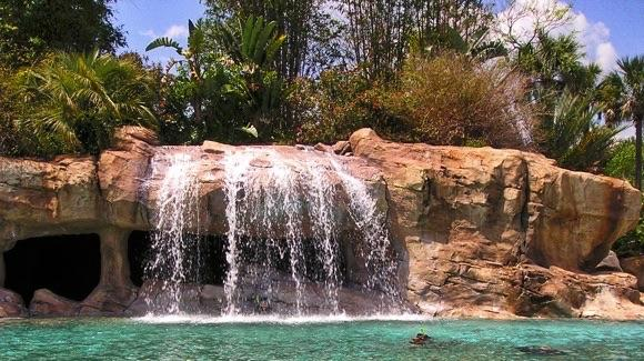 Waterfall and lagoon at Discovery Cove