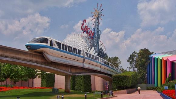 Old view of Epcot with Monorail and Spaceship Earth in the background