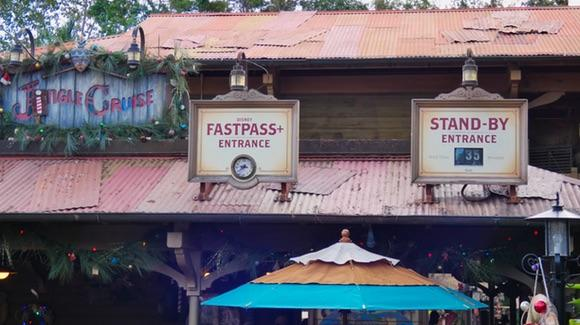 Jingle Cruise FastPass+ signs