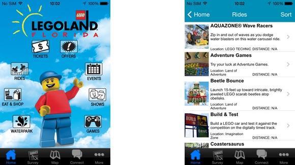Legoland Mobile App screens