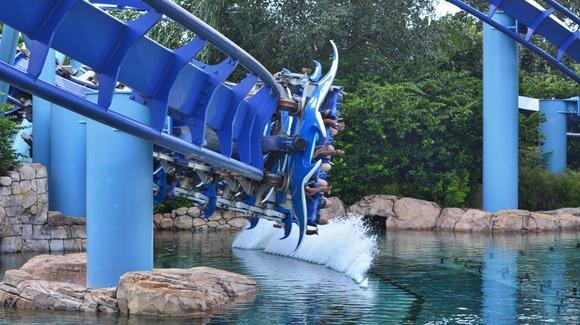SeaWorld Manta Ray rollercoaster kicking up the spray