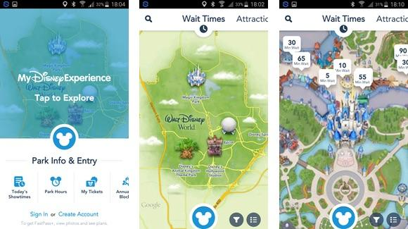 My Disney Experience Application Screens