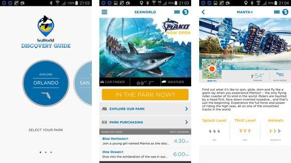 SeaWorld mobile application screen shots