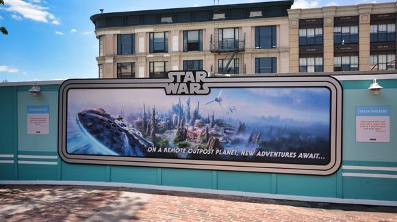 Star Wars Land Concept Artwork on hoarding