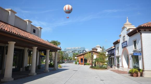 Disney Springs Town Center with Characters in Flight balloon