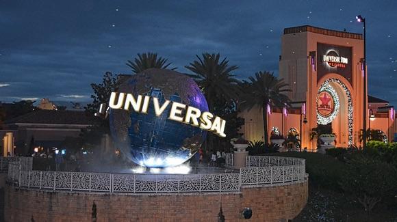 Universal Studios entrance at night